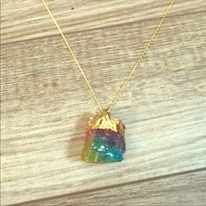Rainbow Glass Crystal Necklace